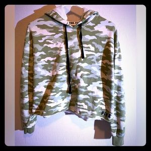Pink crop camo hoodie size Small